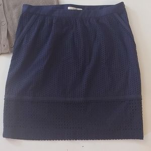 Boden Blue Eyelet Embroiderd Midi Casual Skirt 14L